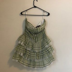 Green plaid checkered strapless poof party dress